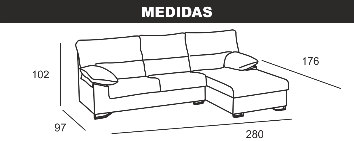 Medidas Composición Chaiselongue Apolo