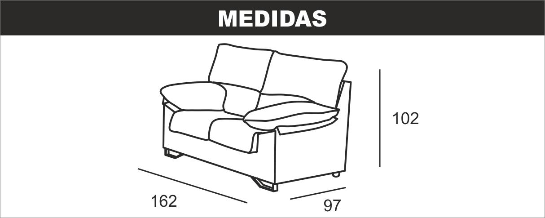 Medidas Sofá 2 Plazas Apolo