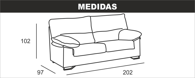 Medidas Sofá 3 Plazas Apolo