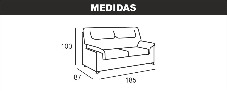 Medidas Sofá 3 Plazas Beta
