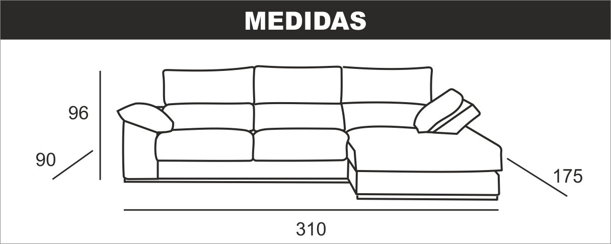 Medidas Chaiselongue Grande Dylan