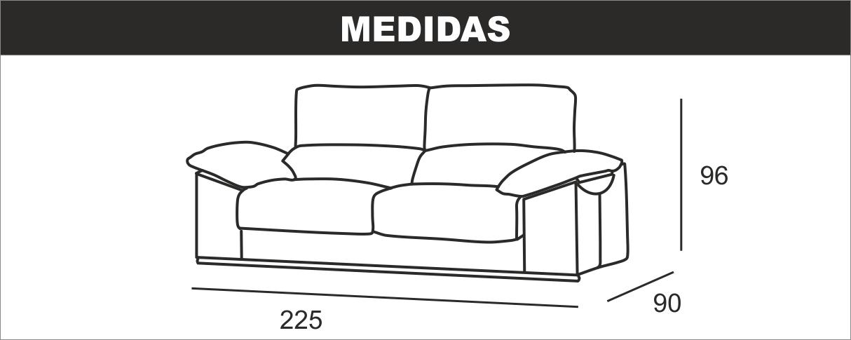 Medidas Sofá 3 Plazas Dylan