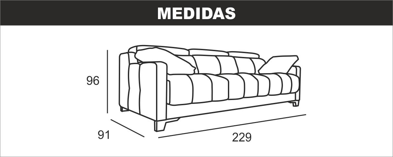 Medidas Sofa 3 Plazas 3 Cabezales Gino