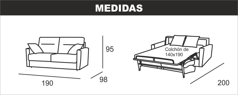 Medidas sofá cama italiana Megan R