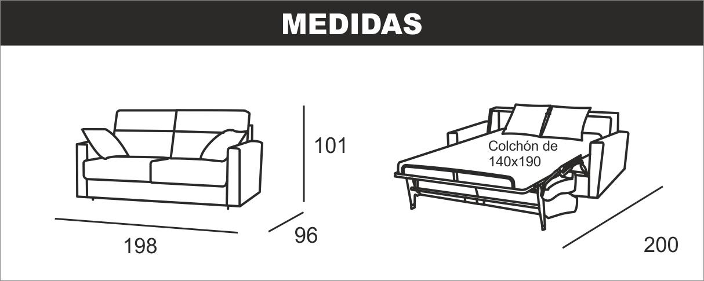 Medidas sofá cama italiana Nuria