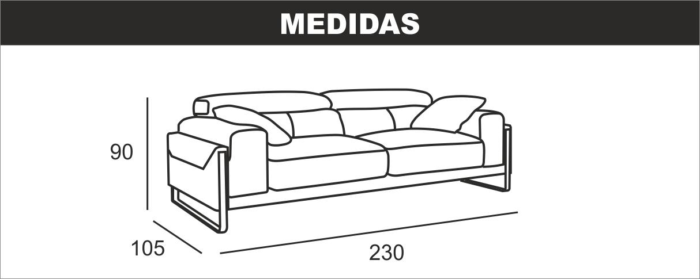 Medidas Sofa 3 Plazas Sharon