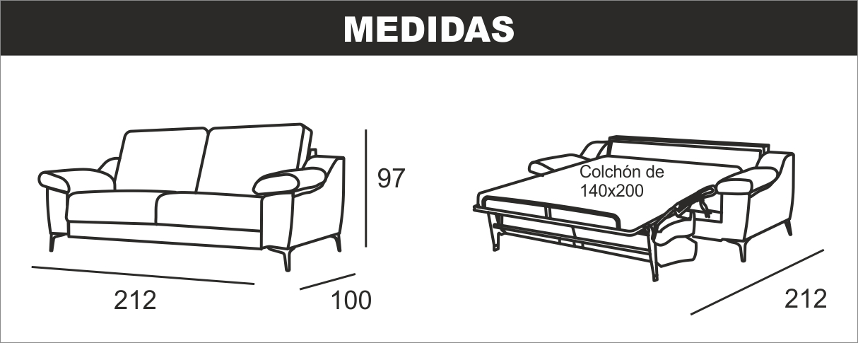 Medidas sofá cama italiana Udine