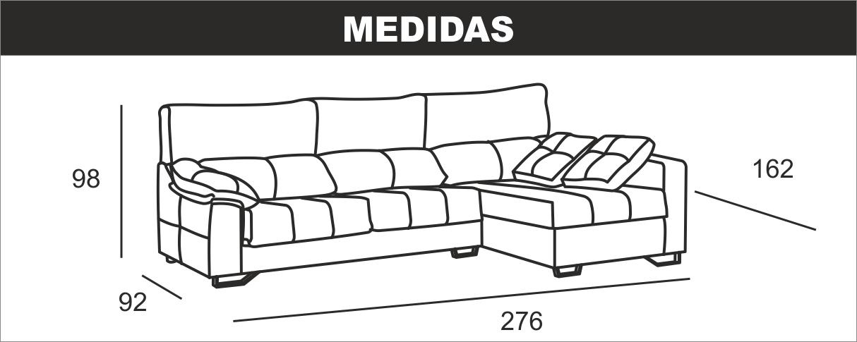 Medidas chaiselongue Ulises