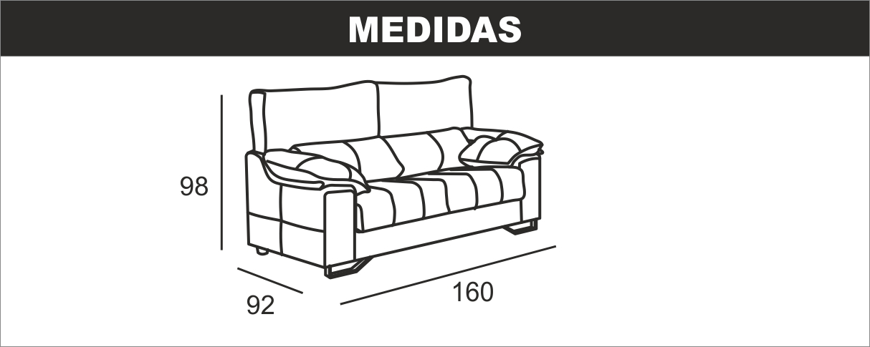 Medidas sofá 2 plazas Ulises