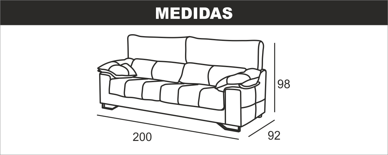 Medidas sofá 3 plazas Ulises