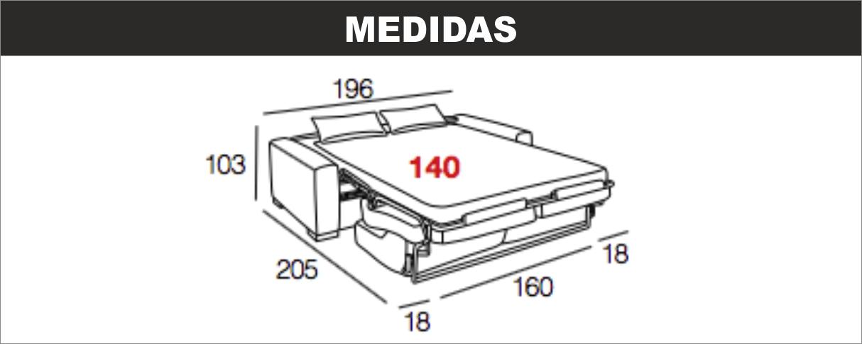 Medidas Sofá Cama Vega 140